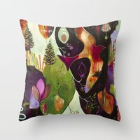 "flora bowley Throw Pillows featuring ""Deep Peace"" Original Painting by Flora Bowley by Flora Bowley"