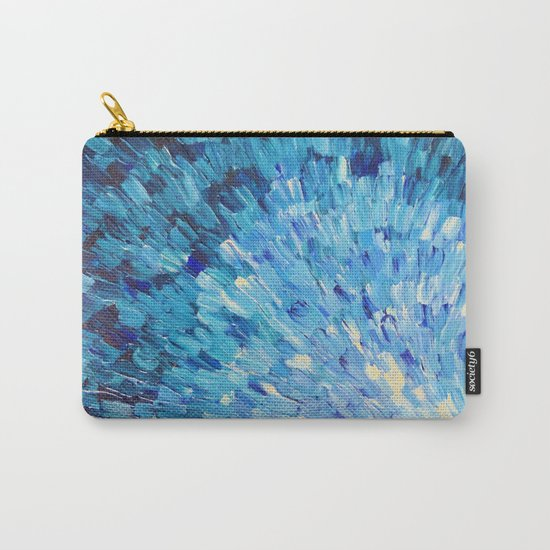 SEA SCALES IN INDIGO - Stunning Ocean Waves Mermaid Fish Navy Royal Blue Marine Abstract Painting Carry-All Pouch