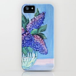 bouquet of lilac in a glass vase . arwrk iPhone Case