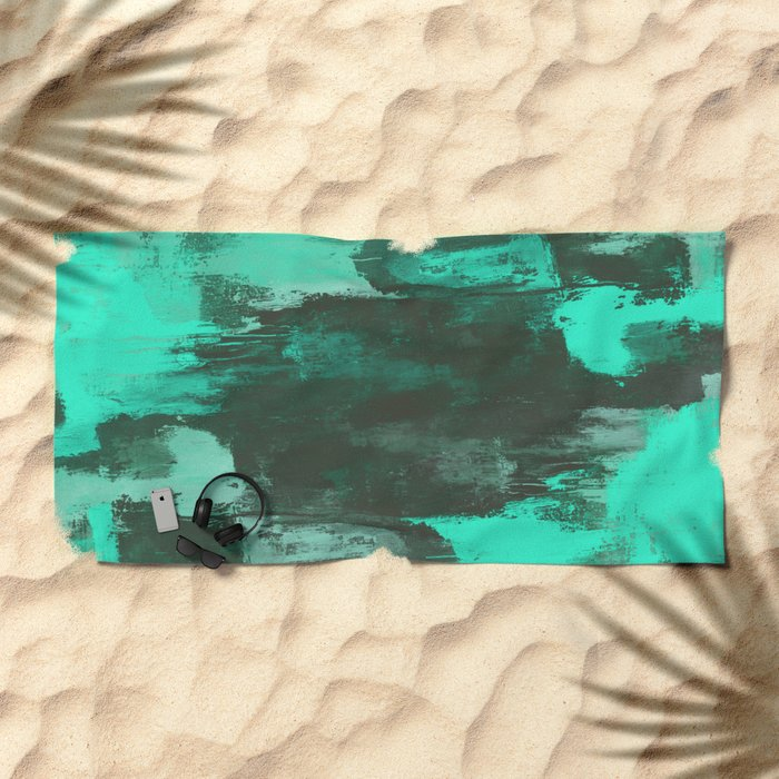 Chill Factor - Abstract cyan blue painting Beach Towel