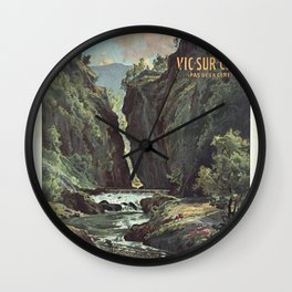 Vintage French Travel Poster: Excursions to Auvergne (1900s) Wall Clock