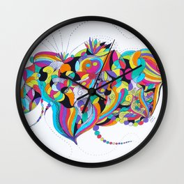 Just Fly - Colorful Birds and flowers Wall Clock