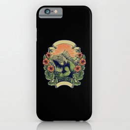 Green Iguana Huge green reptile flowers with frame iPhone Case