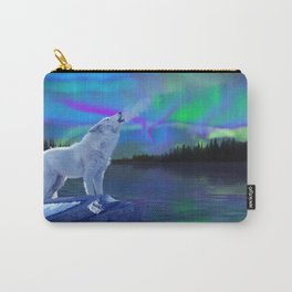 Arctic Prayer - White Wolf and Aurora Carry-All Pouch