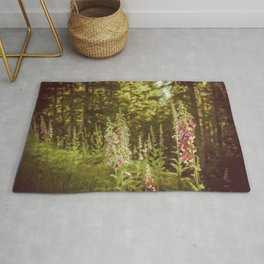A New Day II Wildflowers at Dawn - Nature Photography Rug