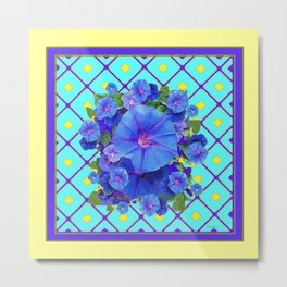 Yellow Turquois Purple Blue Floral Pattern Metal Print