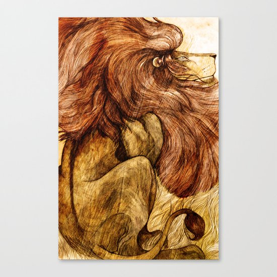 Une Crinière de Lion (the haughty and brilliant lion) Canvas Print