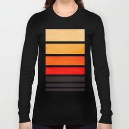Orange Minimalist Watercolor Mid Century Staggered Stripes Rothko Color Block Geometric Art Long Sleeve T-shirt