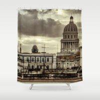 cuba Shower Curtains featuring CUBA - CAPITOLIO by mayavisual