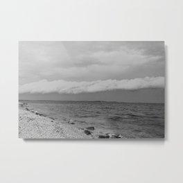 thunderstorm approaching at peroj beach croatia istria black white Metal Print