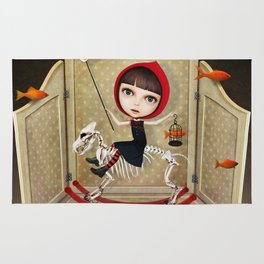 fairy tale story little Red riding hood and wolf Rug