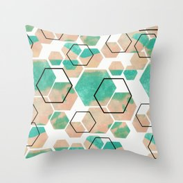 Mint ice cube geometric abstract pattern Throw Pillow