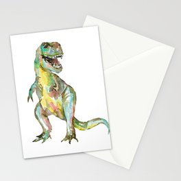 T-rex dinosaur painting watercolour  Stationery Cards