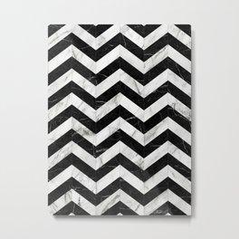Marble Chevron Pattern 2 - Black and White Metal Print