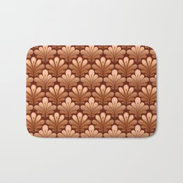Art Deco Shell Pattern, Copper and Chocolate Brown Bath Mat
