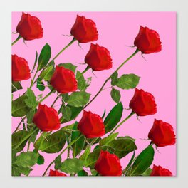 RED LONG STEMMED ROSES ON PINK Canvas Print