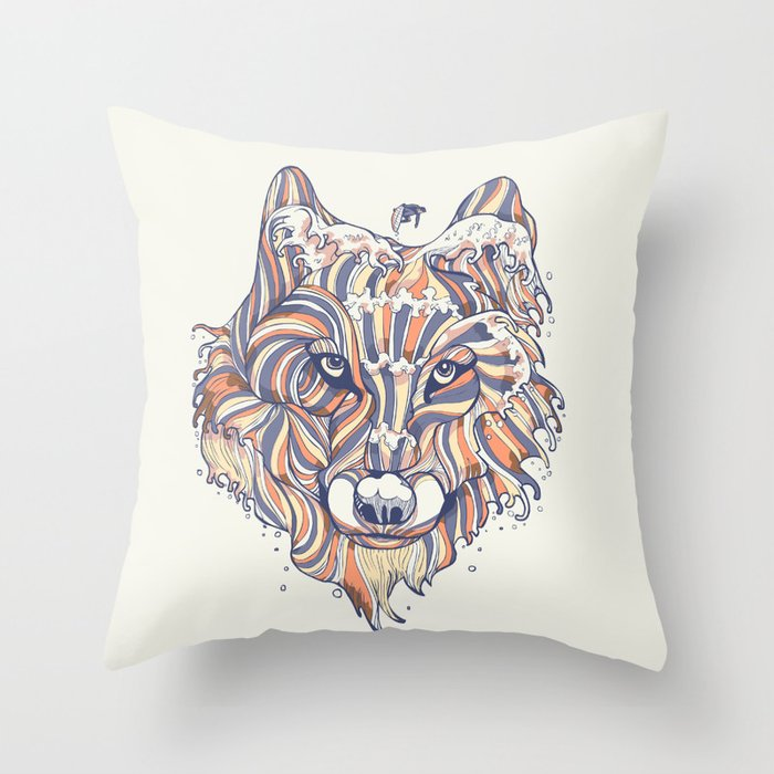 Wave Wolf Throw Pillow