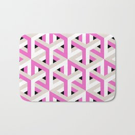 Pink and White Pattern with Grey and Black Bath Mat