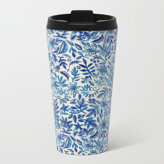 Floating Garden - a watercolor pattern in blue Metal Travel Mug