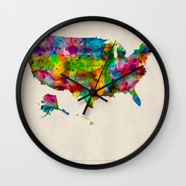 USA Map in Watercolor Wall Clock