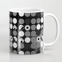 Hectic Geometric On Textured Black And White Coffee Mug