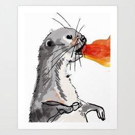 Fire Breathing Otter Art Print
