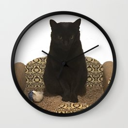 The Queen on her Couch, Edie the Manx, Black Cat Photograph Wall Clock