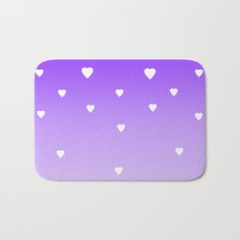 Purple Ombre with White Hearts Bath Mat