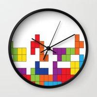 tetris Wall Clocks featuring Tetris by Jennifer Agu