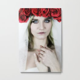 woman with a rose crown Metal Print