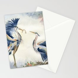 Great Blue Heron Couple Stationery Cards