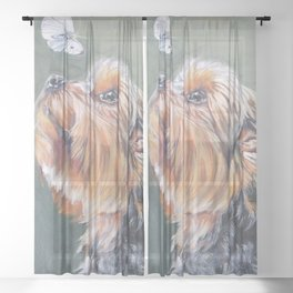 A realistic Yorkshire Terrier Portrait by L.A.Shepard fine art painting Sheer Curtain