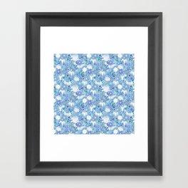 Blue Crane Floral Framed Art Print
