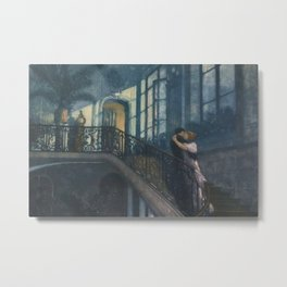 Classical Masterpiece A Kiss on the Stairs by Lionello Balestrieri, circa 1899 Metal Print