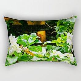 Flowers At Dusk Lit By Lantern Light Rectangular Pillow