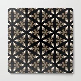 Black, Tan and Cream Kaleidoscope Pattern Metal Print