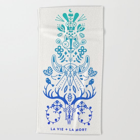 La Vie & La Mort – Blue Ombré Beach Towel