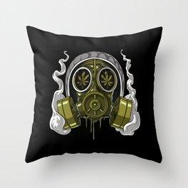 Stoner Gas Mask Throw Pillow