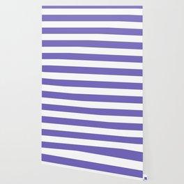 Blue-violet (Crayola) - solid color - white stripes pattern Wallpaper