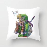 zelda Throw Pillows featuring Zelda by Melina Espinoza