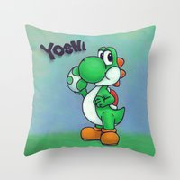 yoshi Throw Pillows featuring Yoshi by belindazart