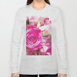 Bunch of Pink roses (watercolour) Long Sleeve T-shirt