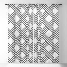 Diagonal Black and White Stripes Grid Lattice Pattern, Minimal Graphic Design Sheer Curtain