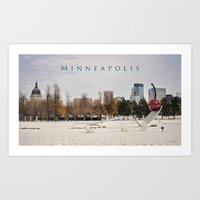 minneapolis Art Prints featuring Minneapolis by Kimberley Britt