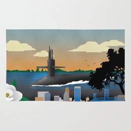 Kings Bay, GA - Retro Submarine Travel Poster Rug