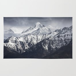 mountain with blue sky background Rug