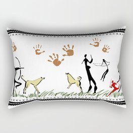 Cavemen White Rectangular Pillow