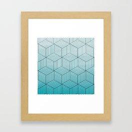 Cubism Teal Framed Art Print