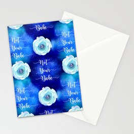 Sparkly Blue 'Not Your Babe' pattern Stationery Cards