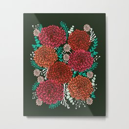 Chrysanthemums - Floral, Flower, Vintage, Design, Illustration by Andrea Lauren Metal Print